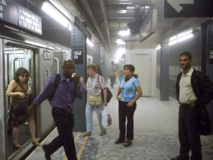 World Trade Center incident. Subway in dust-filled Wall Street station is evacuated.   Original Filename: 64j0v00m.jpgvia Flatbed Web