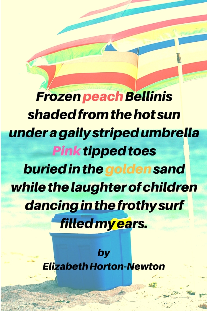 Frozen peach Bellinisshaded from the hot sununder a gaily striped umbrella (1)