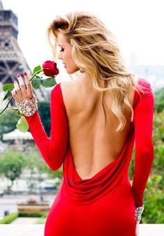blond red dress